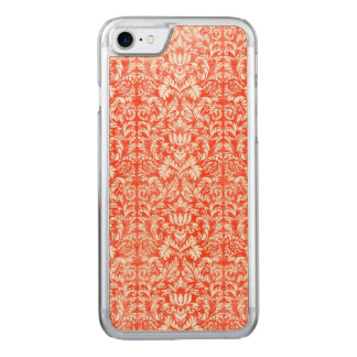 Classic Red and White Damask Print Pattern Carved iPhone 8/7 Case