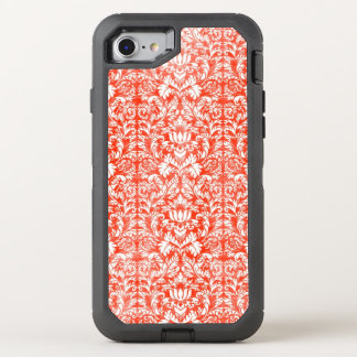 Classic Red and White Damask Print Pattern OtterBox Defender iPhone 7 Case