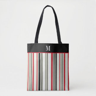 Classic Red Black Stripe Monogram Tote Bag