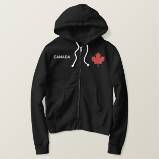 Classic Red Maple Leaf on Black Embroidered Hoodie