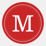 Classic Red Monogram Envelope Seal Round Sticker