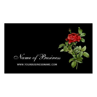 Classic Red Rose Elegant Red and Black Floral Business Card Templates