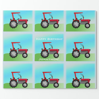 """Classic Red Tractor """"Happy Birthday, Name"""" Wrapping Paper"""