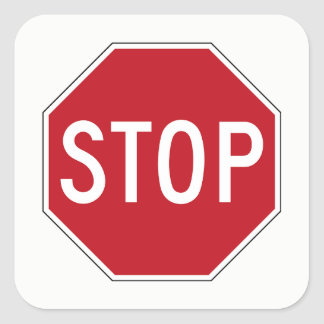 Classic Red USA Stop Sign Traffic/Road Stickers