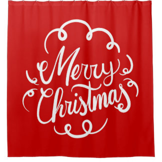 Classic Red White Merry Christmas Typography Shower Curtain