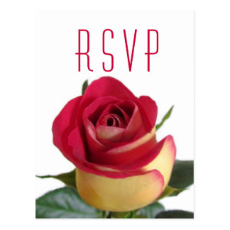 Classic Red & Yellow Rose RSVP Postcard