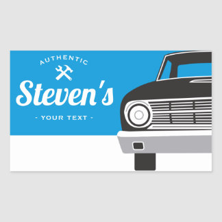 Classic Retro Car   Customized Name Own Brand Rectangular Sticker