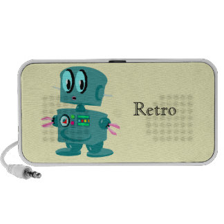 Classic retro green robot travelling speakers
