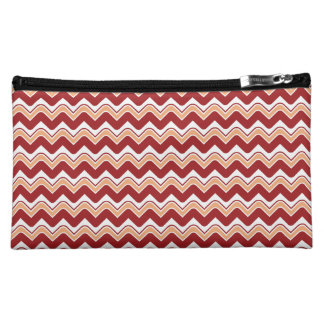 Classic Ripple Chevron Cosmetics Bag - Red Cosmetic Bag