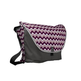 Classic Ripple Chevron Messenger Bag - Purple