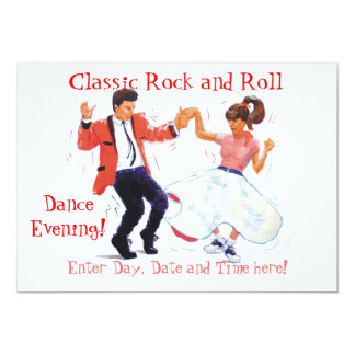 "Classic Rock and Roll  Jive Dancing 5"" X 7"" Invitation Card"