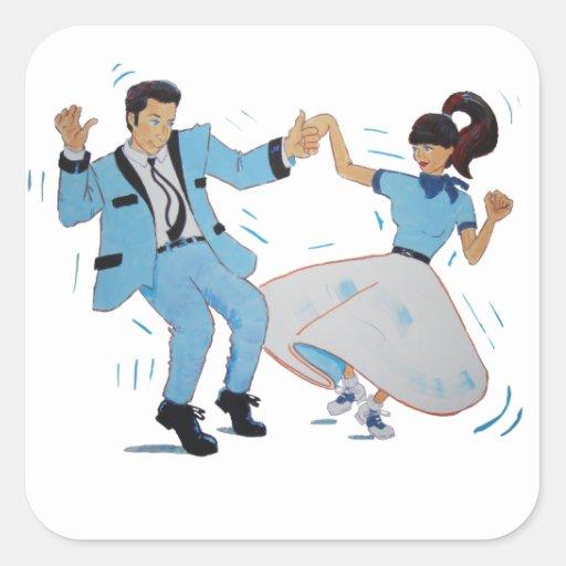 Classic Rock n Roll Jive dancers cartoon Stickers