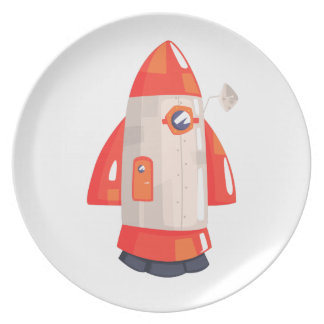 Classic Rocket Spaceship With Satellite Dish On