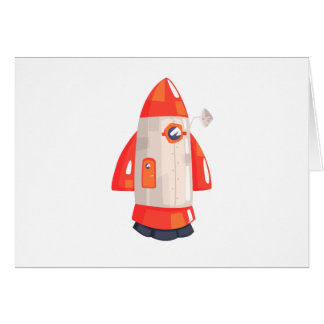 Classic Rocket Spaceship With Satellite Dish On Card