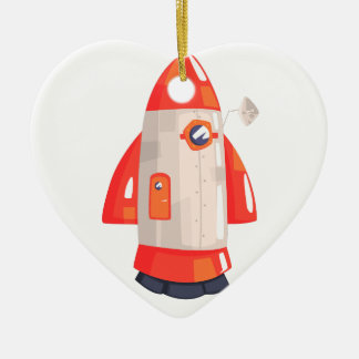 Classic Rocket Spaceship With Satellite Dish On Ceramic Ornament