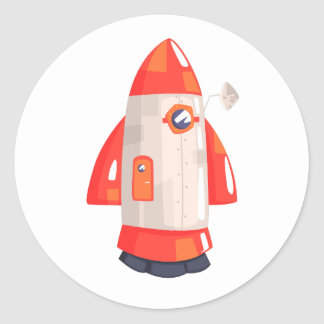 Classic Rocket Spaceship With Satellite Dish On Classic Round Sticker