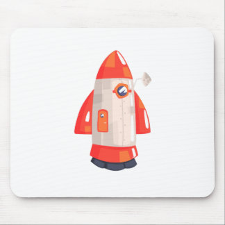 Classic Rocket Spaceship With Satellite Dish On Mouse Pad