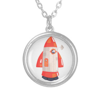 Classic Rocket Spaceship With Satellite Dish On Silver Plated Necklace