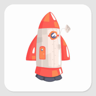 Classic Rocket Spaceship With Satellite Dish On Square Sticker