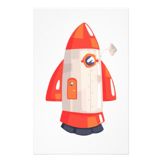 Classic Rocket Spaceship With Satellite Dish On Stationery
