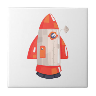 Classic Rocket Spaceship With Satellite Dish On Tile