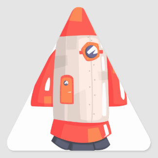 Classic Rocket Spaceship With Satellite Dish On Triangle Sticker