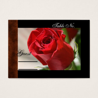 Classic Rose & Leather Wedding PlaceCard