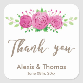 Classic Rosiness Square Thank You Sticker