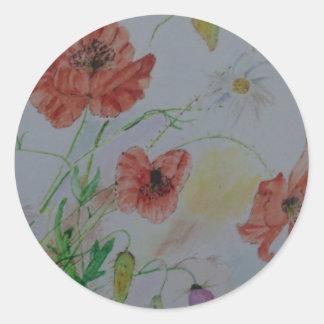 Classic Round Glossy Sticker 1 1/2'' w/flowers