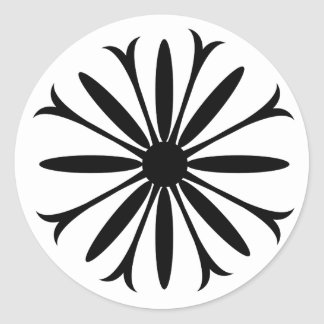 Classic Round Sticker BLACK & WHITE FLOWER LOGO