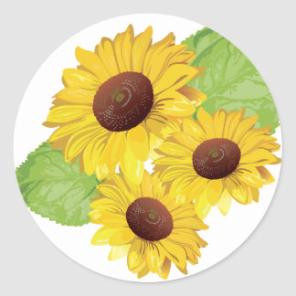 Classic round sticker sunflower motive