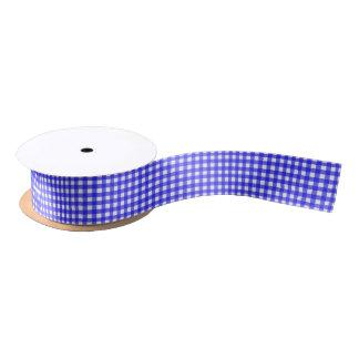 Classic Royal Blue Gingham Pattern Satin Ribbon