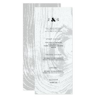 Classic Rustic Woodgrain White Winter Wedding Menu 10 Cm X 24 Cm Invitation Card