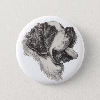 Classic Saint Bernard Dog Portrait Drawing 6 Cm Round Badge