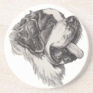Classic Saint Bernard Dog Portrait Drawing Beverage Coaster