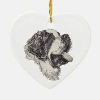 Classic Saint Bernard Dog Portrait Drawing Ceramic Heart Decoration