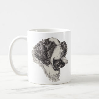 Classic Saint Bernard Dog Portrait Drawing Coffee Mug