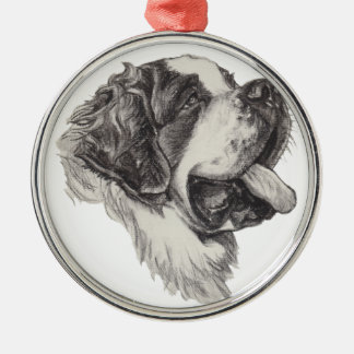 Classic Saint Bernard Dog Portrait Drawing Metal Ornament