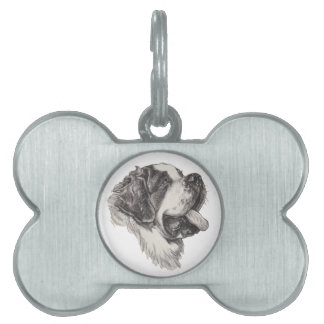 Classic Saint Bernard Dog Portrait Drawing Pet ID Tag