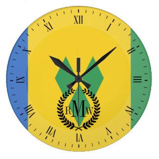 Classic Saint Vincent Flag Large Clock