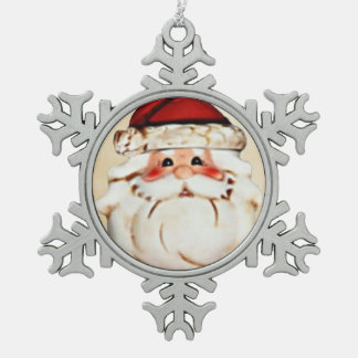 Classic Santa Claus Face Snowflake Pewter Christmas Ornament