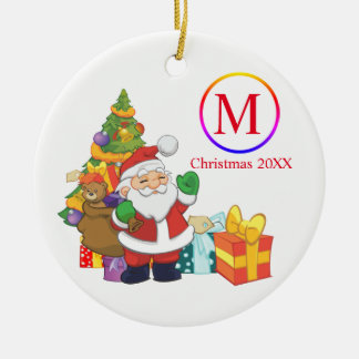 Classic Santa Claus Monogram Christmas Ceramic Ornament