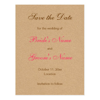 Classic Save the Date Postcards in Pink