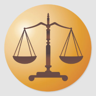 Classic Scales of Justice | Law Firm Round Sticker