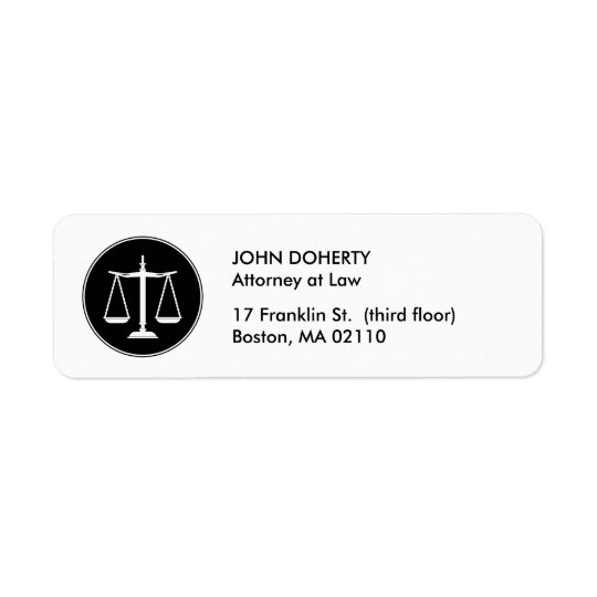 Classic Scales of Justice | Law Return Address Label