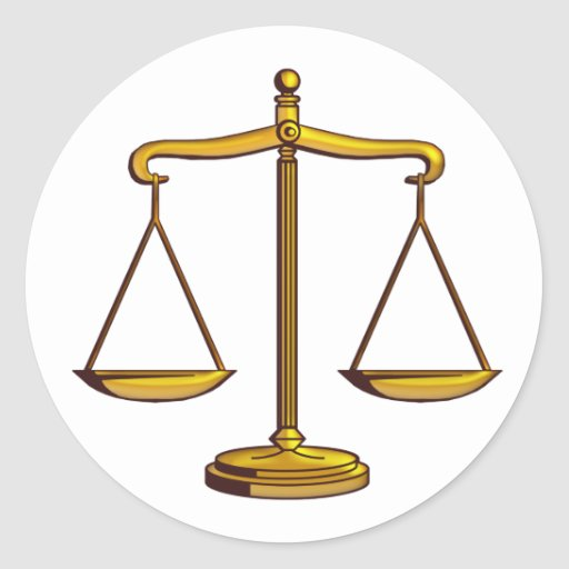 Classic Scales of Justice   Law Round Sticker