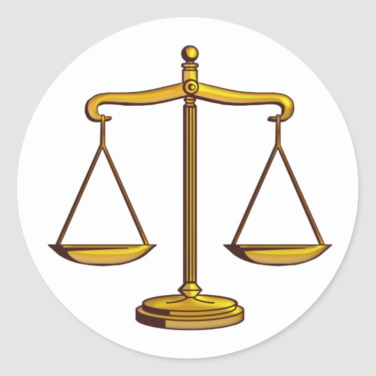Classic Scales of Justice | Law Round Sticker