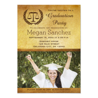 Classic Scales of Justice Law School Graduation 13 Cm X 18 Cm Invitation Card