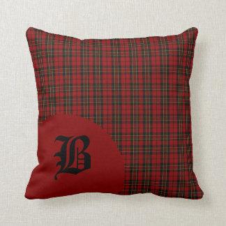 Classic Scottish Brodie Clan Tartan Plaid Monogram Throw Pillow