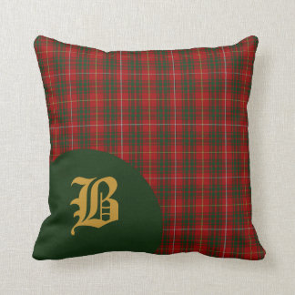 Classic Scottish Bruce Clan Tartan Plaid Monogram Cushion